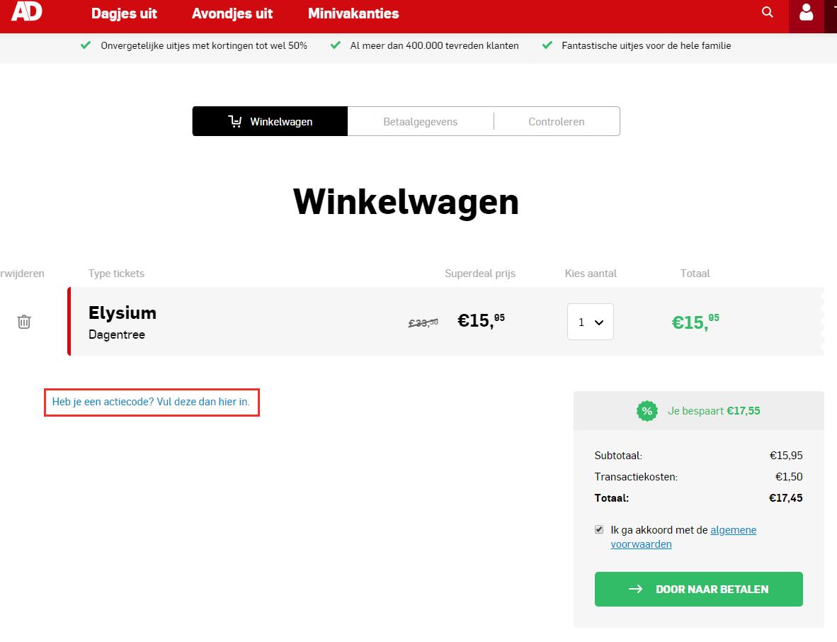 AD Webwinkel kortingscode gebruiken