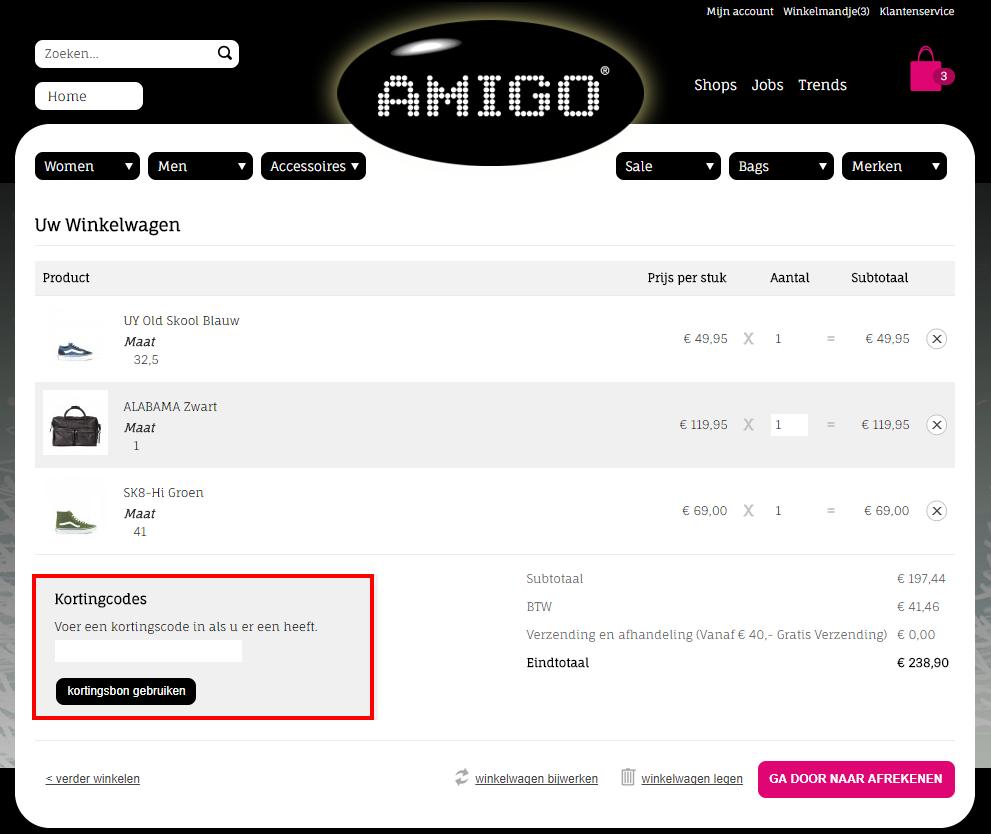 Amigo kortingscode gebruiken