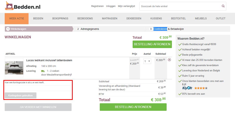 Bedden.nl kortingscode gebruiken