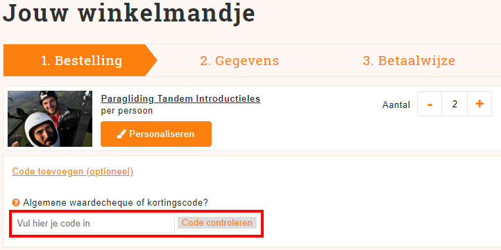 Belevenissen.nl kortingscode gebruiken