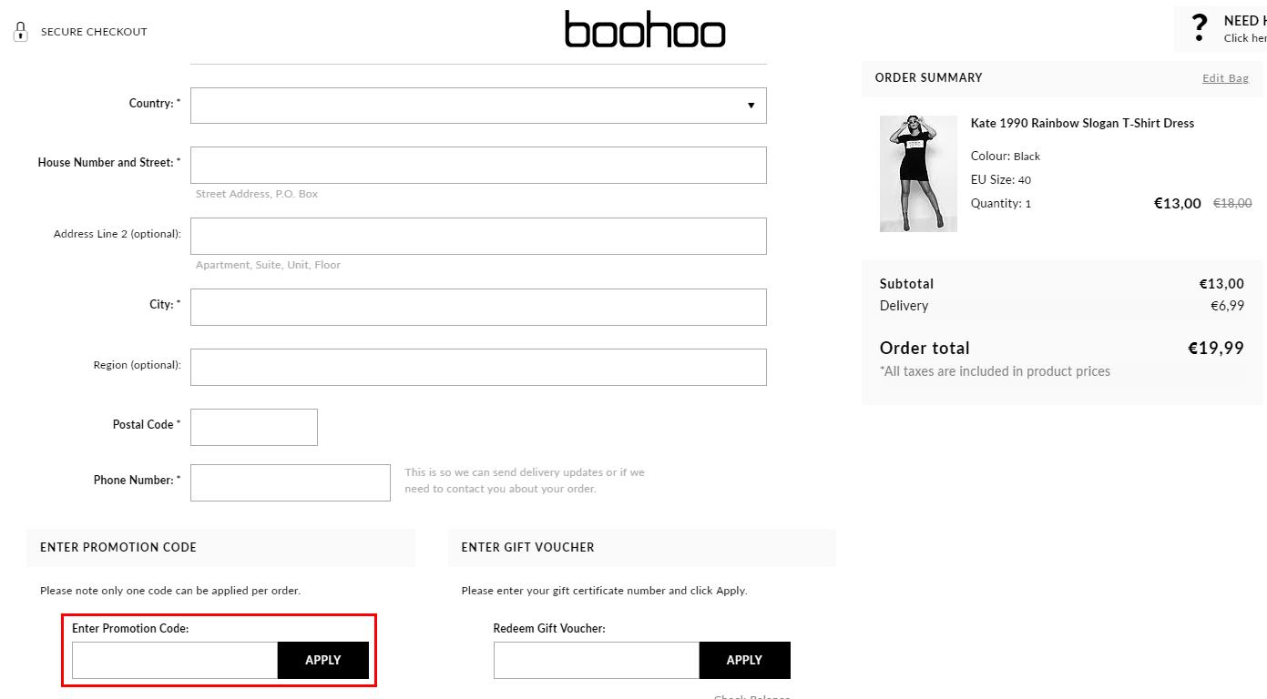 Boohoo kortingscode gebruiken