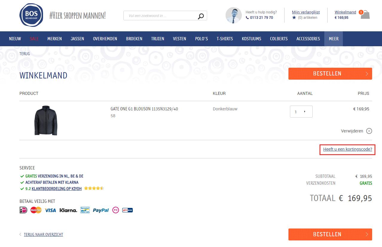 Bos Men Shop kortingscode gebruiken