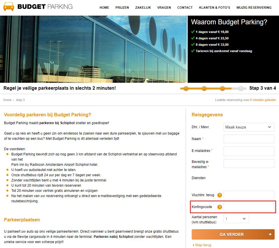 Budget Parking kortingscode gebruiken