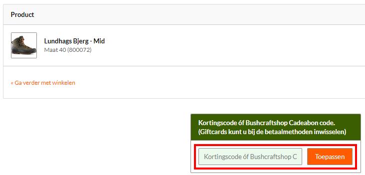 Bushcraftshop kortingscode gebruiken