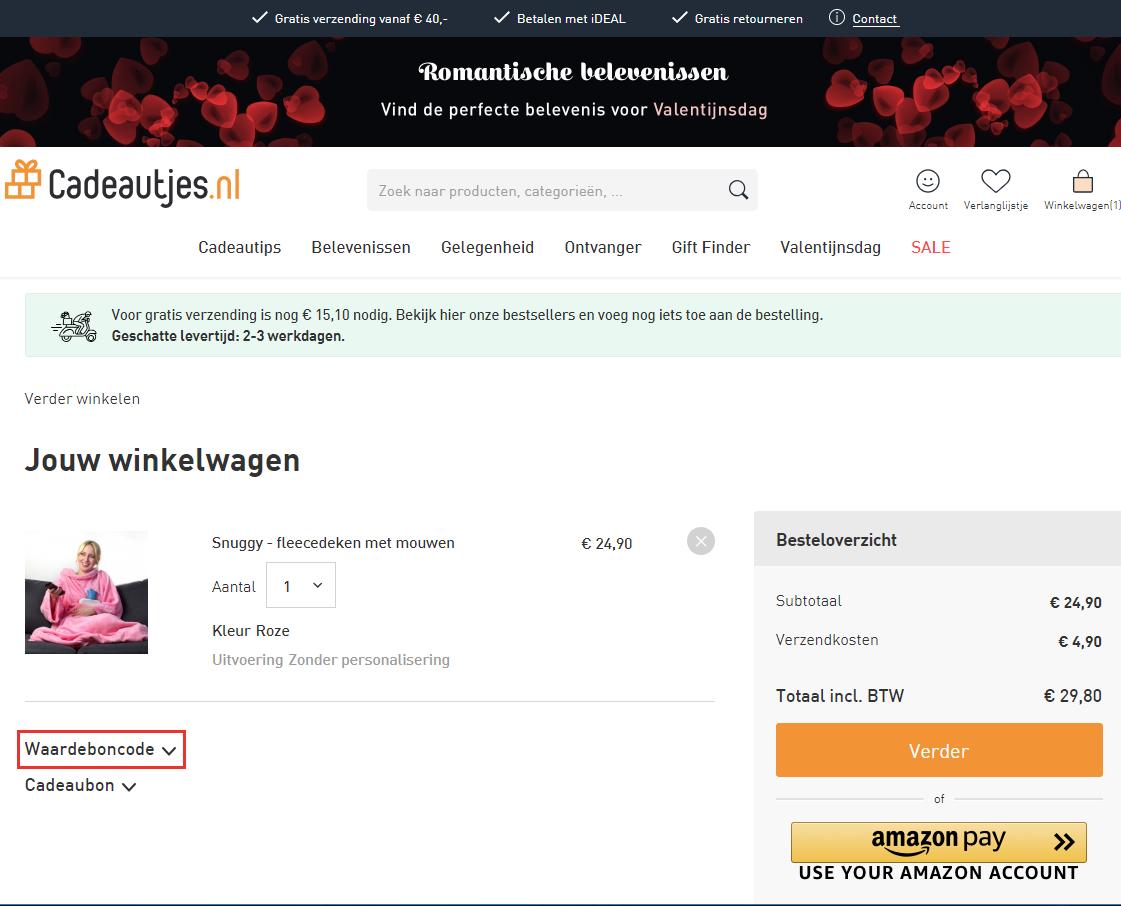 Cadeautjes.nl kortingscode gebruiken