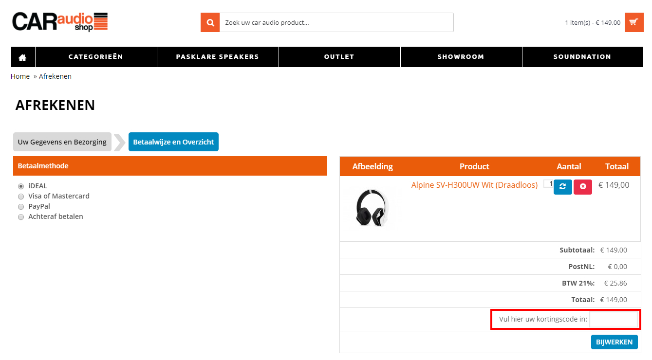 Car Audio Shop kortingscode gebruiken