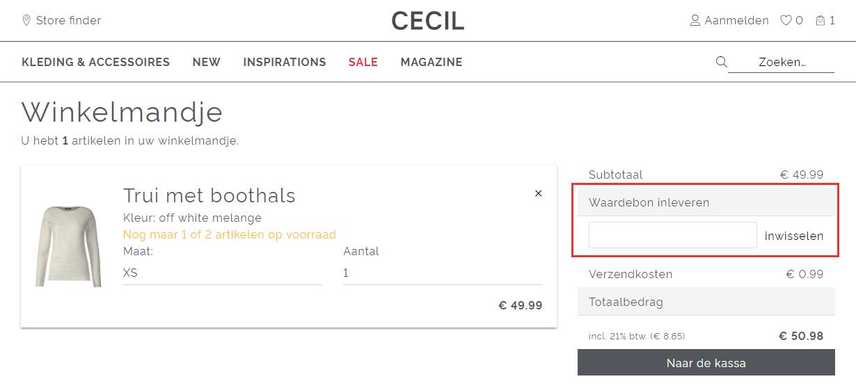 CECIL kortingscode gebruiken