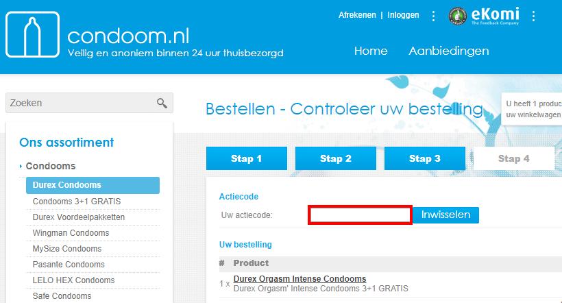 Condoom.nl kortingscode gebruiken