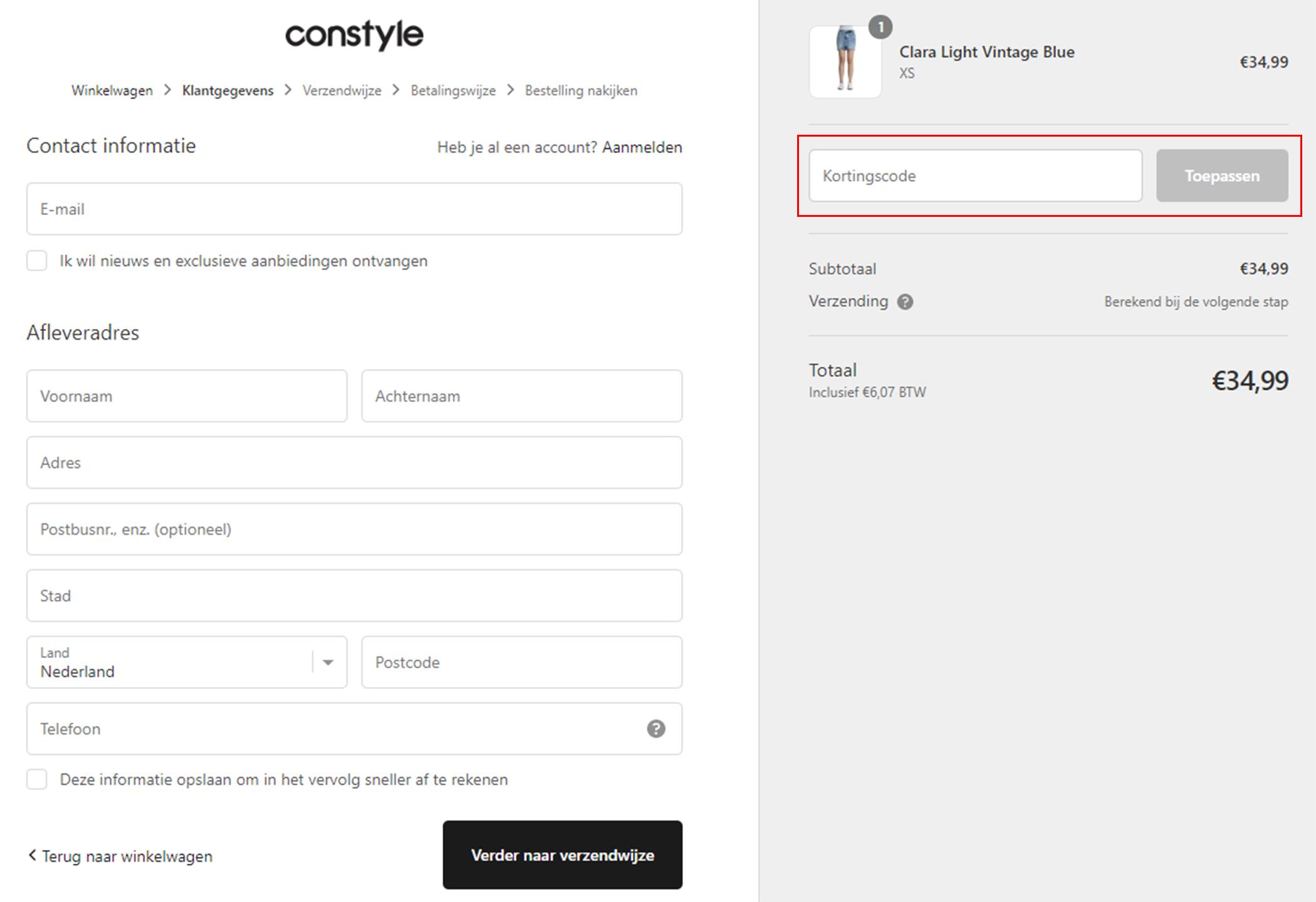 Constyle kortingscode gebruiken