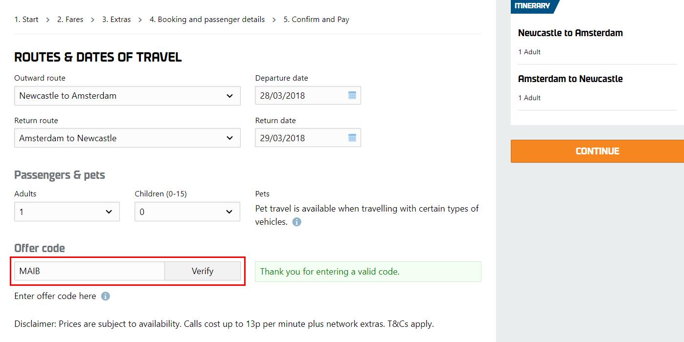 DFDS Seaways kortingscode gebruiken
