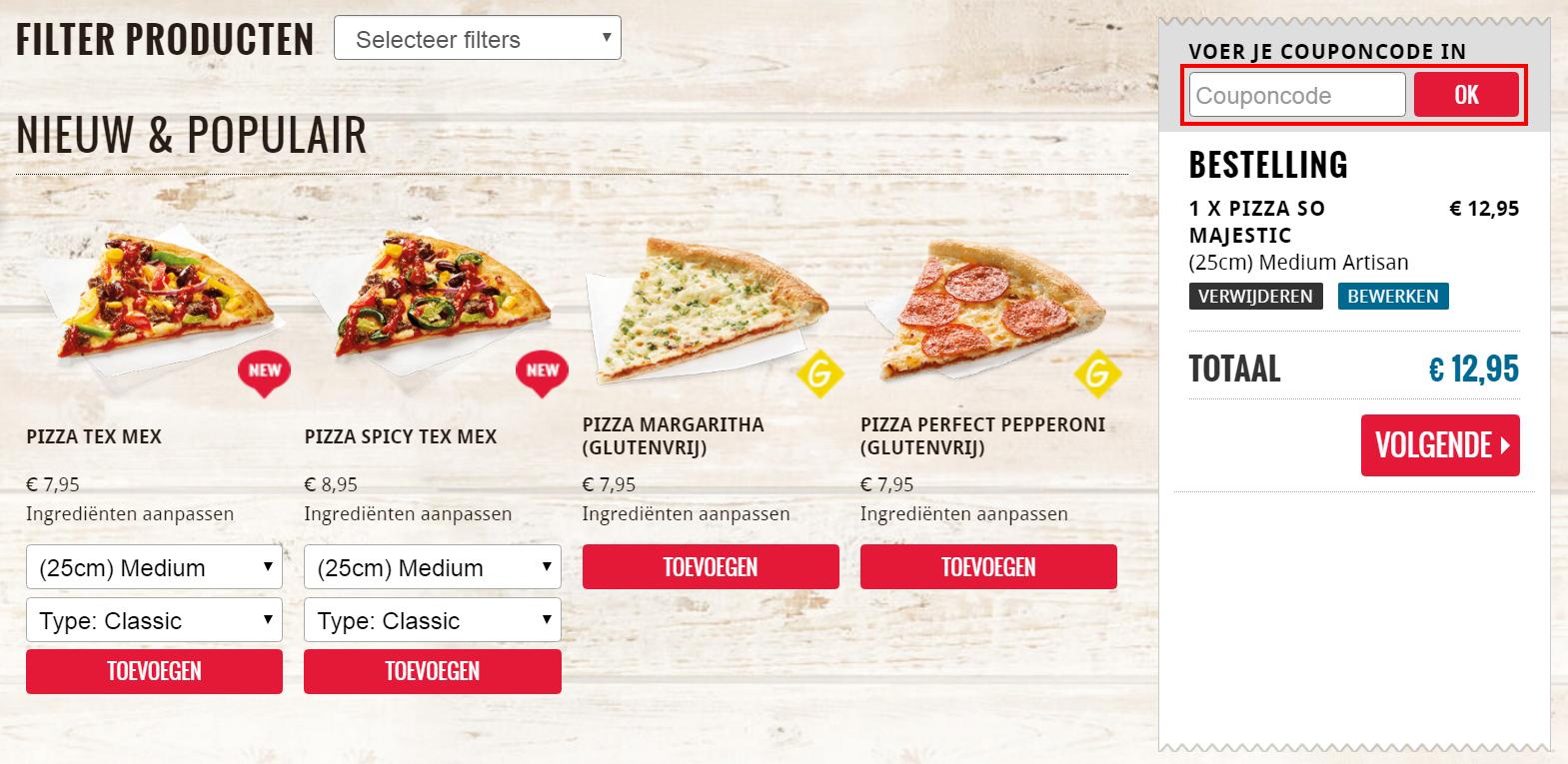 Domino's Pizza kortingscode gebruiken