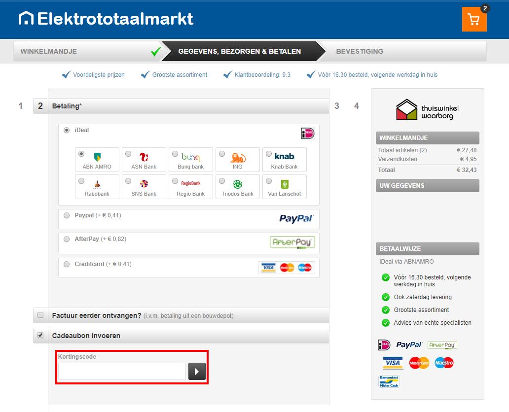 Elektrototaalmarkt kortingscode gebruiken