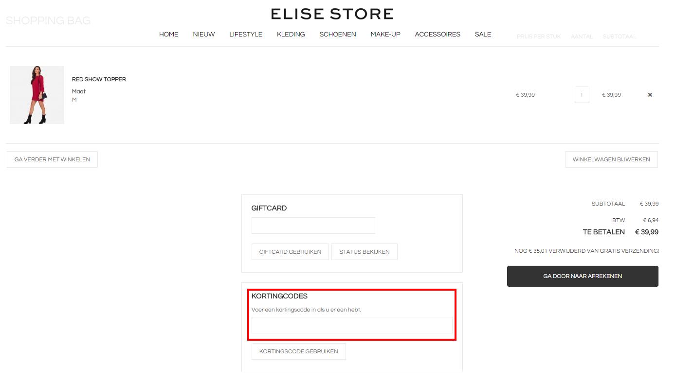 Elise Store kortingscode gebruiken