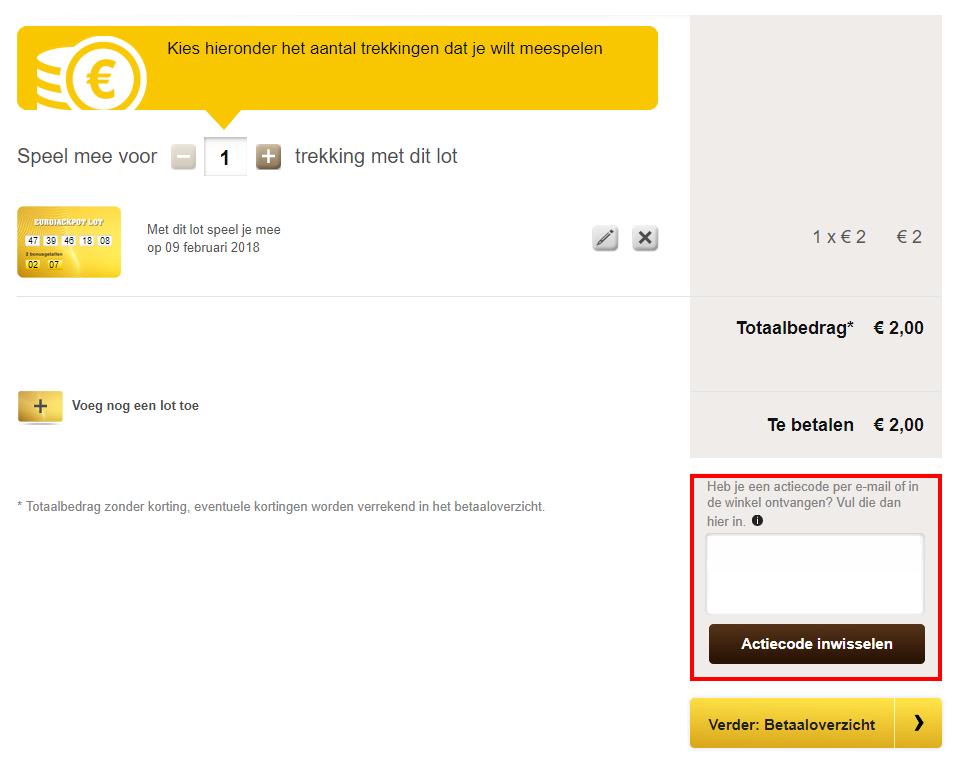 Eurojackpot kortingscode gebruiken