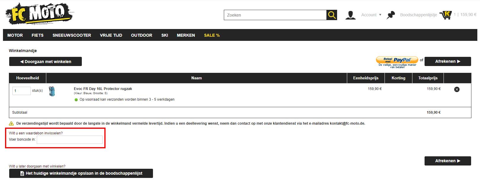 FC Moto kortingscode gebruiken