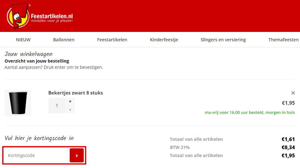 Feestartikelen.nl kortingscode gebruiken