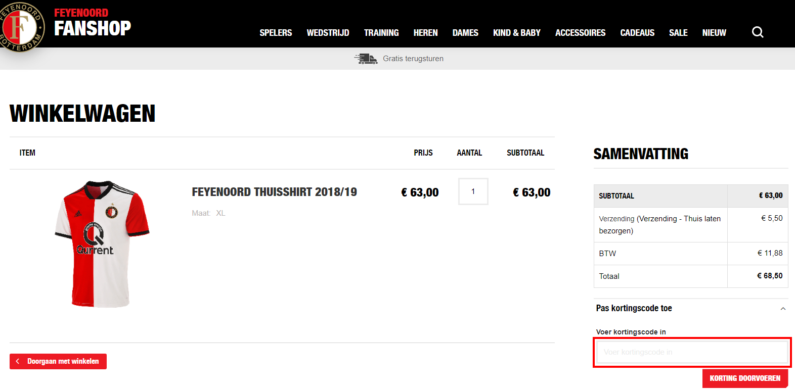 Feyenoord Fanshop kortingscode gebruiken