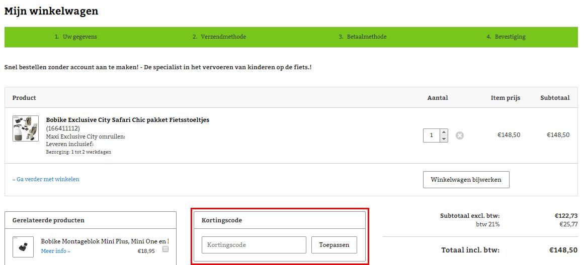 Fiets-Stoeltje.nl kortingscode gebruiken