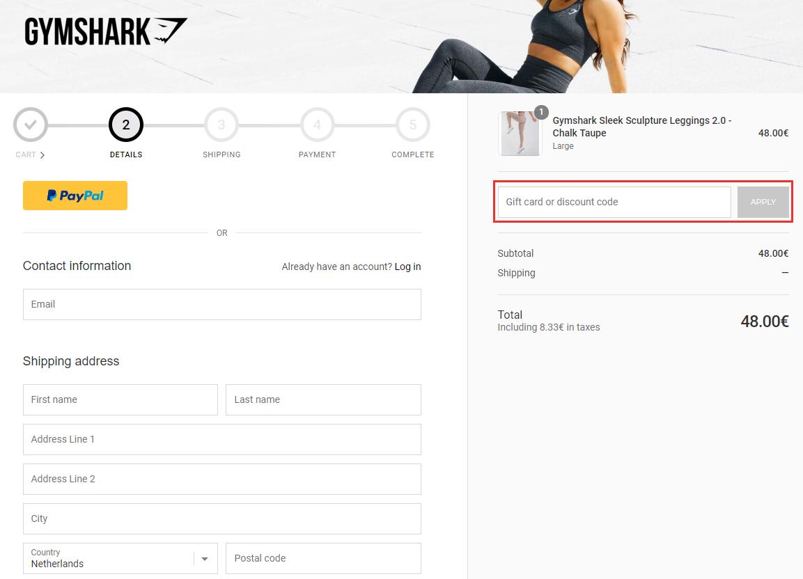 Gymshark kortingscode gebruiken