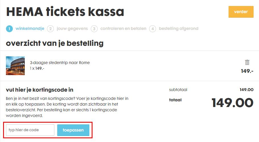 HEMA Tickets kortingscode gebruiken