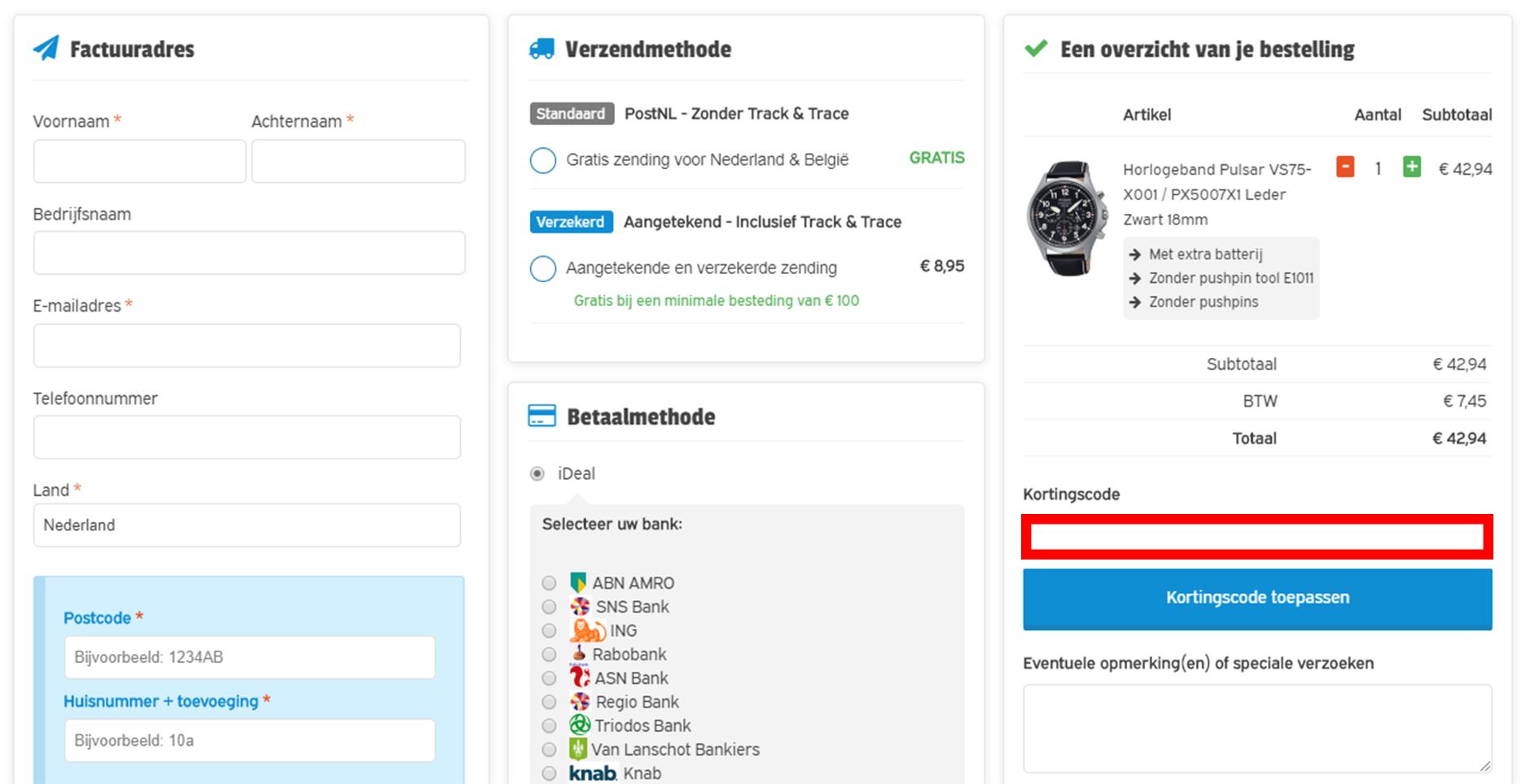 Horloge-bandjes.nl kortingscode gebruiken