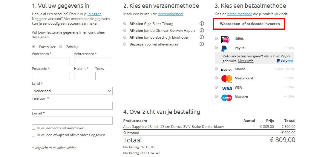 Internetbikes kortingscode gebruiken