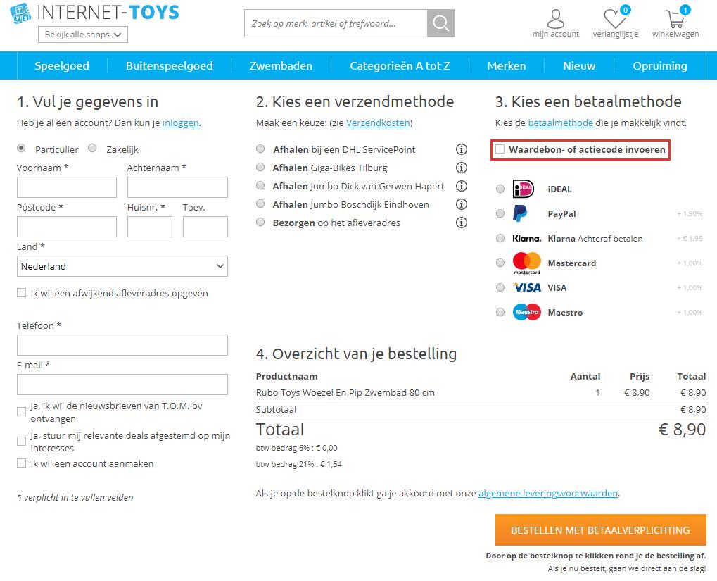 Internet Toys kortingscode gebruiken