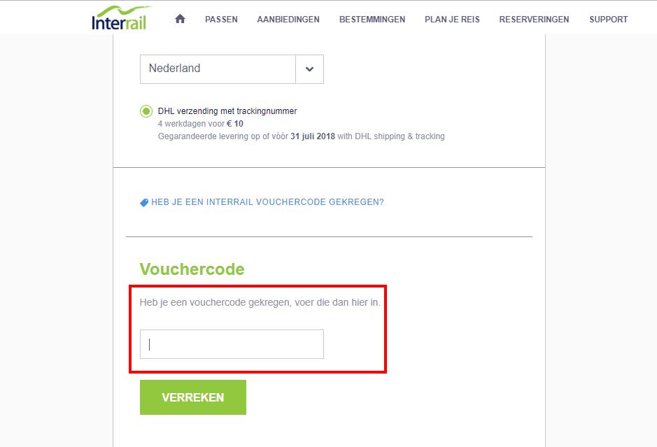 Interrail kortingscode gebruiken