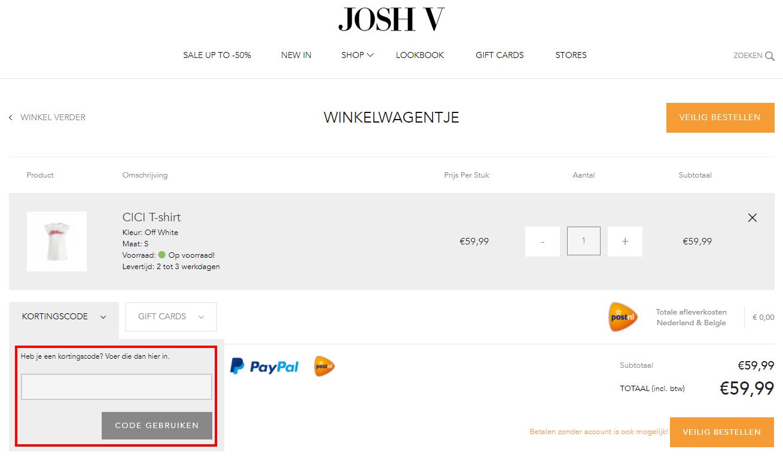 JOSH V kortingscode gebruiken