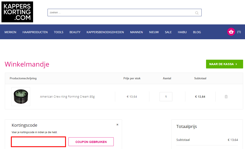 Kapperskorting.com kortingscode gebruiken