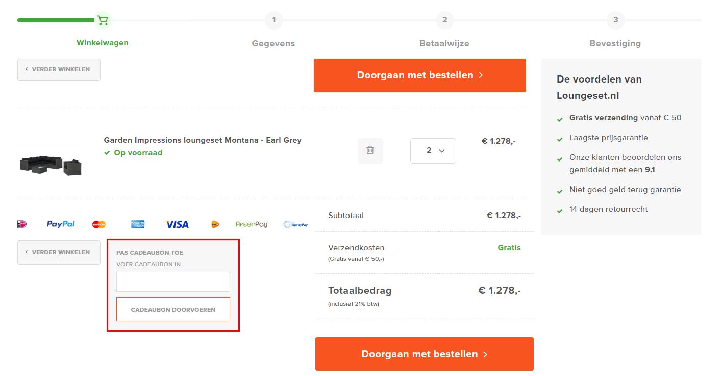 Loungeset.nl kortingscode gebruiken