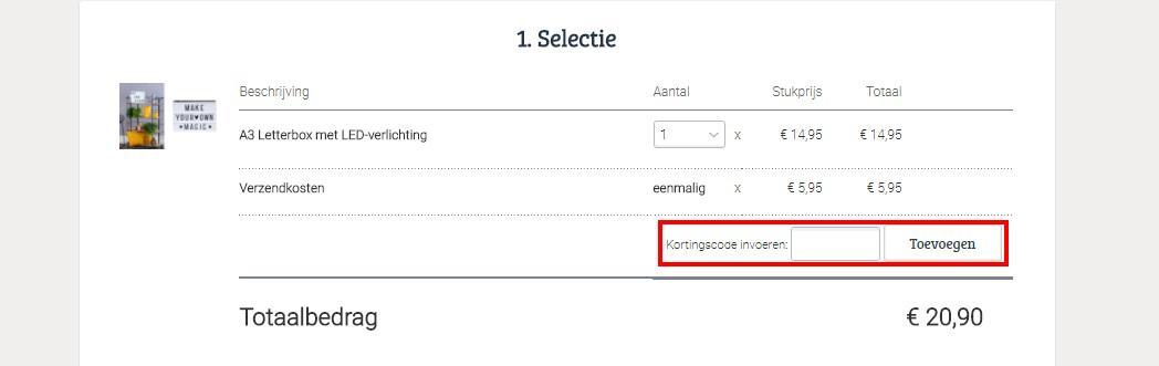 Marktplaats kortingscode toevoegen