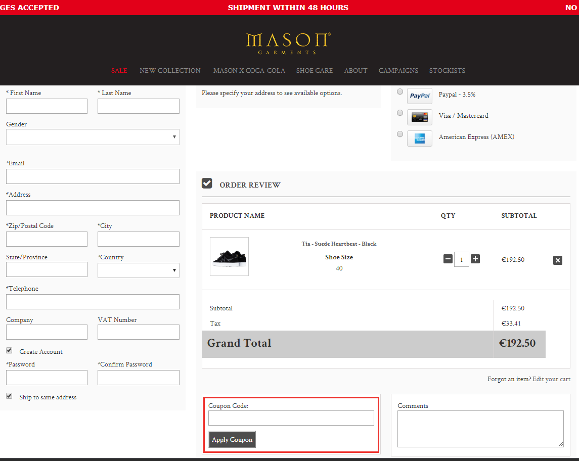 Mason Garments kortingscode gebruiken