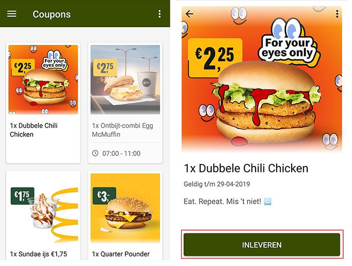 McDonalds kortingscode gebruiken