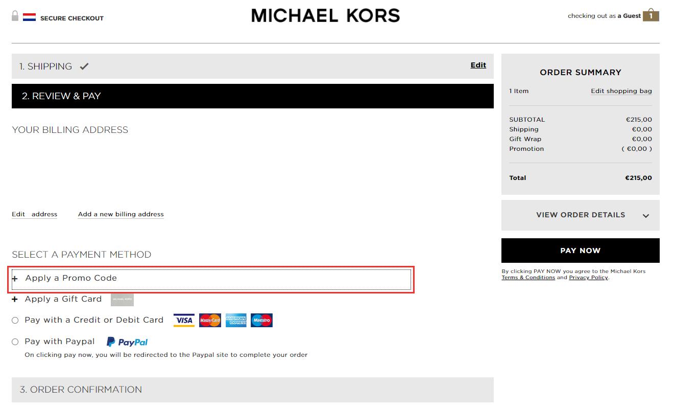 Michael Kors kortingscode gebruiken