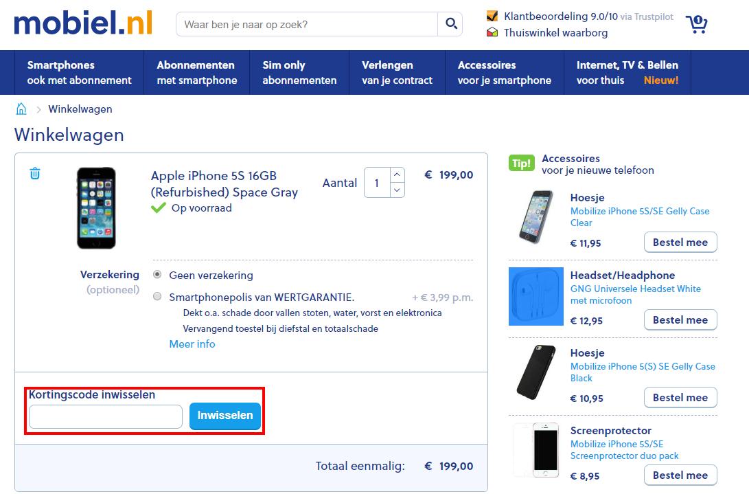Mobiel.nl kortingscode gebruiken