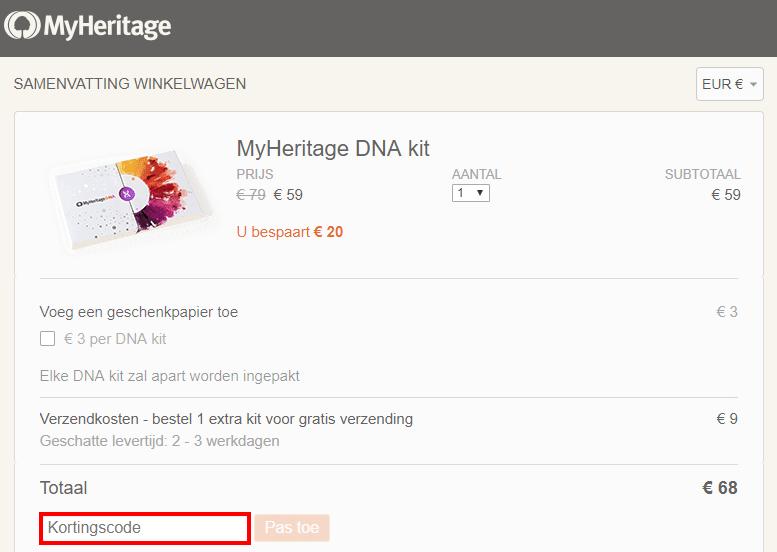 MyHeritage kortingscode gebruiken