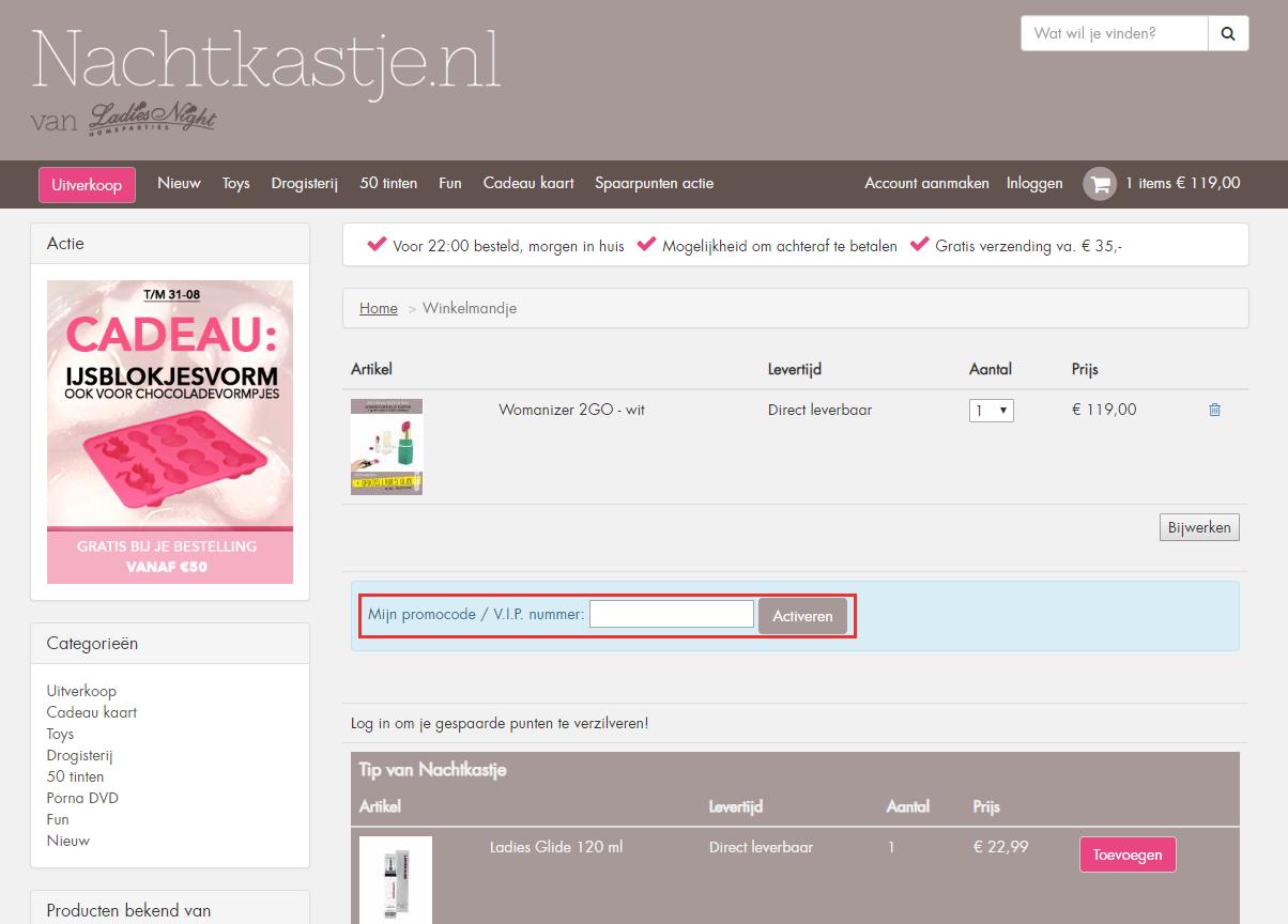 Nachtkastje.nl kortingscode gebruiken