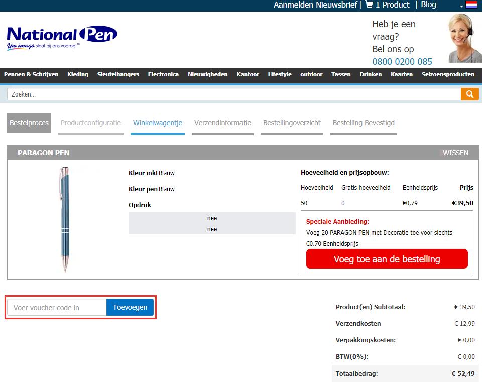 National Pen kortingscode gebruiken