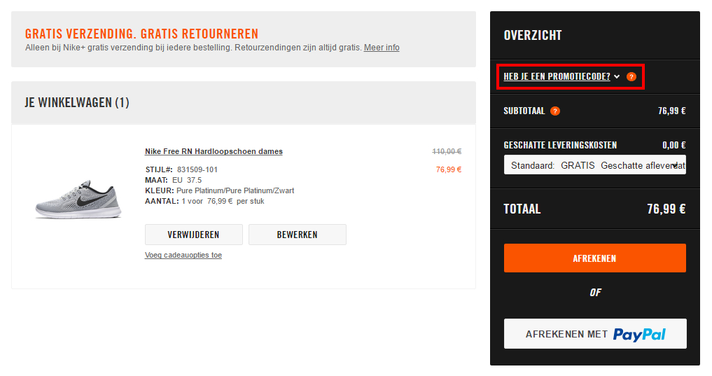Nike kortingscode gebruiken