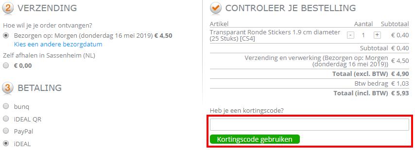 Packlinq kortingscode gebruiken