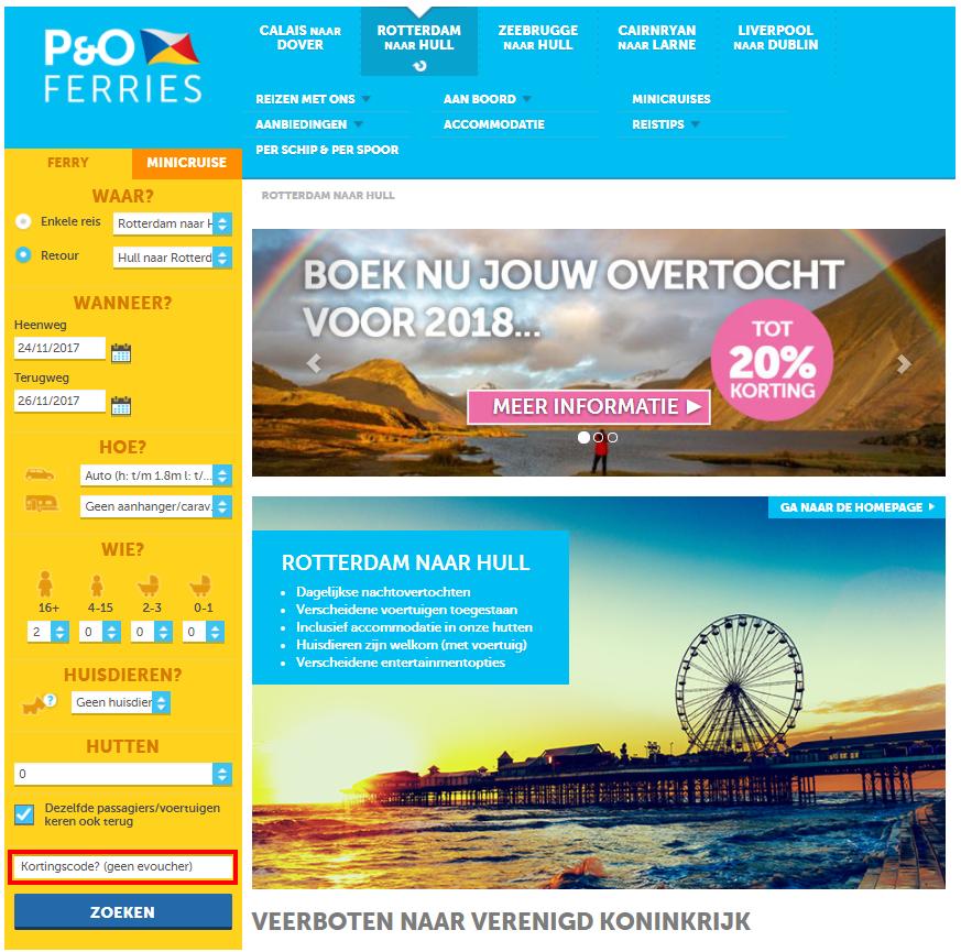 P&O Ferries kortingscode gebruiken
