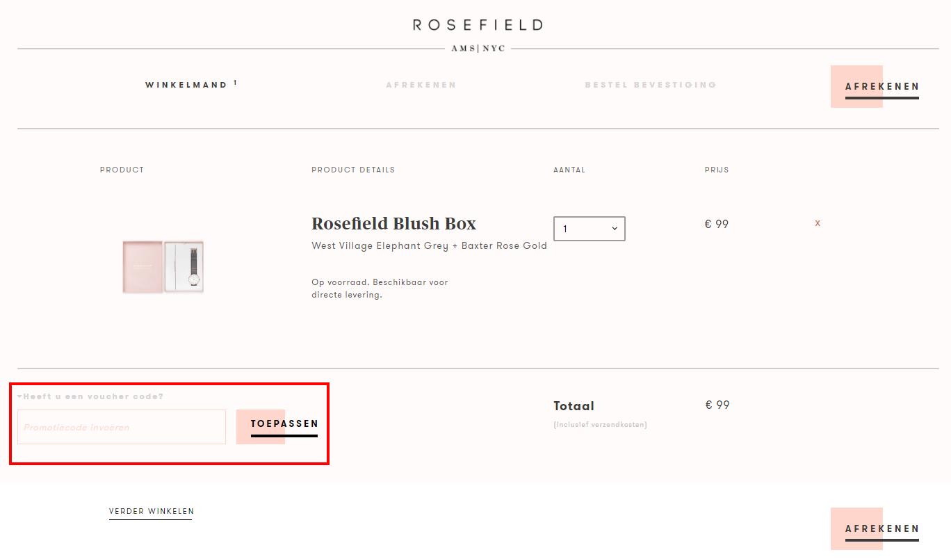Rosefield kortingscode gebruiken