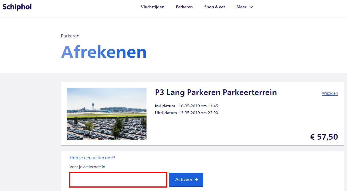 Schiphol Parking kortingscode gebruiken