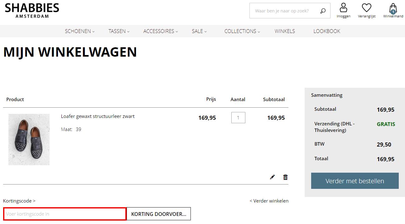 Shabbies Amsterdam kortingscode toevoegen