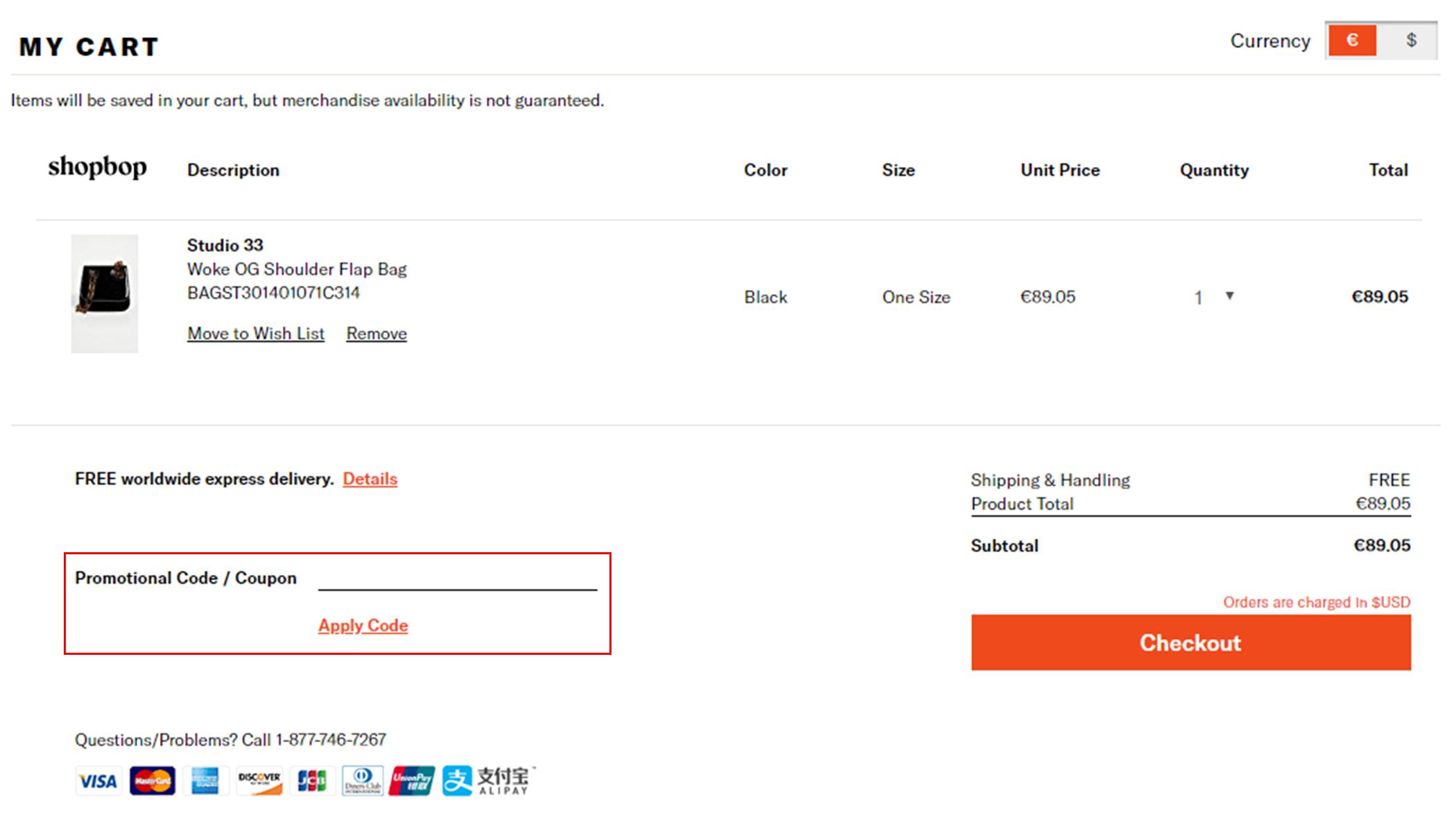 Shopbop kortingscode gebruiken