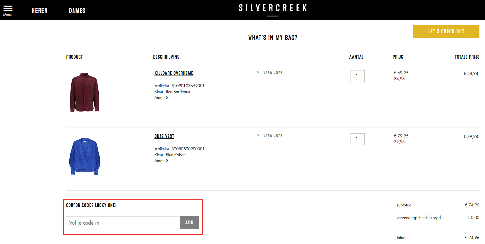 Silvercreek kortingscode gebruiken