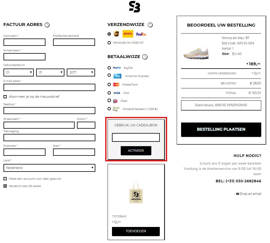 Sneakerbaas kortingscode gebruiken