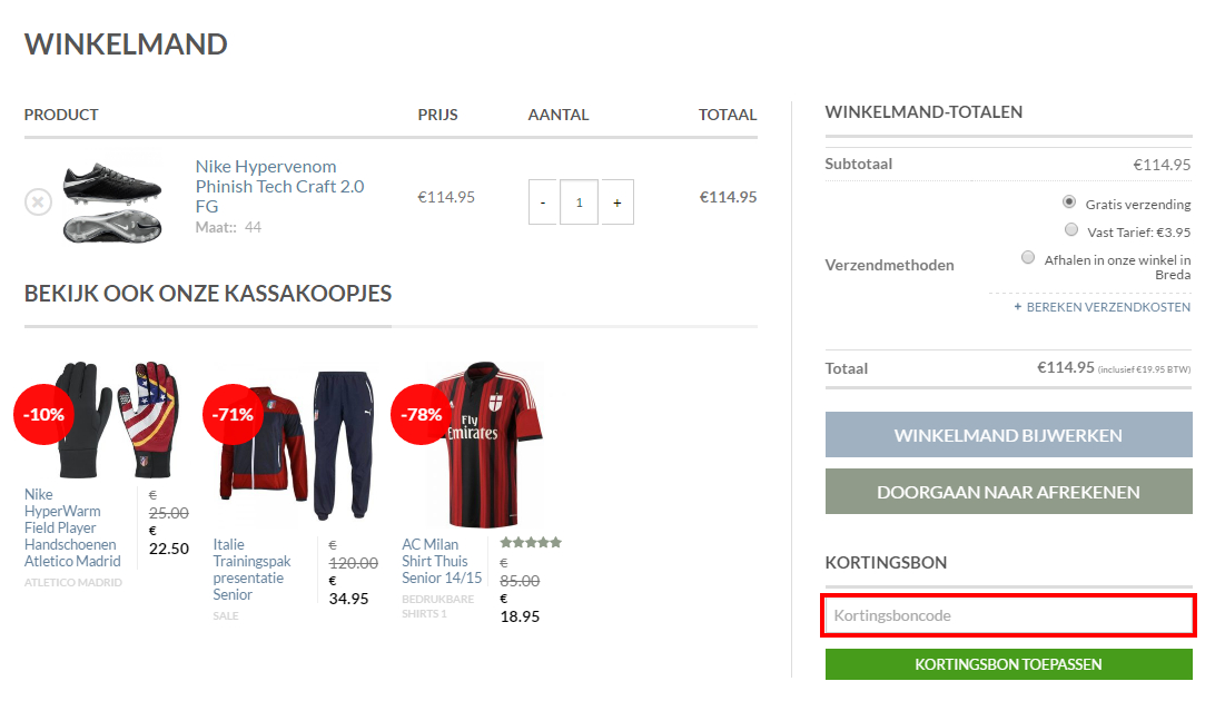 Soccerfanshop kortingscode gebruiken