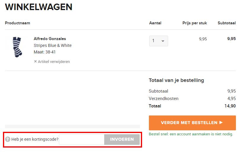 Sokken.nl kortingscode gebruiken